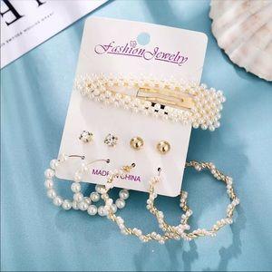 Set of five items earrings hair clip